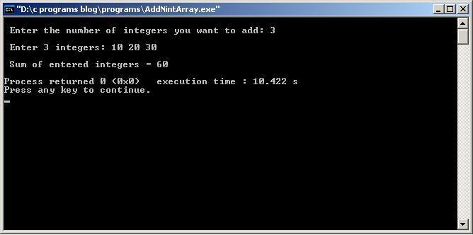 C-Program-Add-N-int-Array