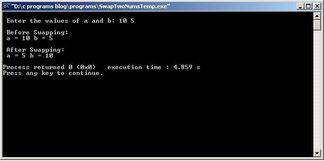 C-Program-Swap-Two-Nums