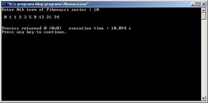 C-Program-fibonacci-Output