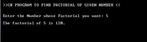 C#.Net Factorial of Number