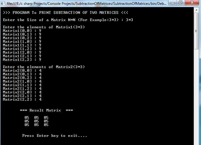 Matrix Subtraction Output_1