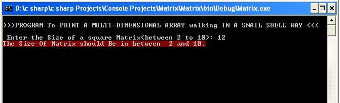 SNAIL MATRIX OUTPUT 2