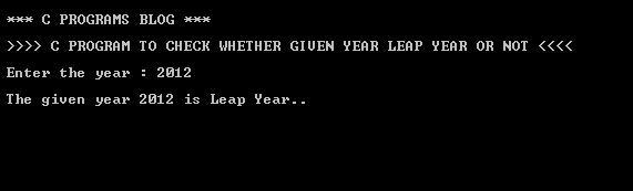 C Program Leap Year Output