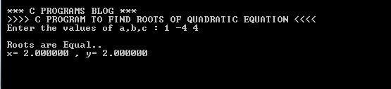 C Program Quadratic Equation Output