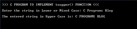 C Program ToUpper Function_Output