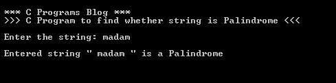 C Program Palindrome output