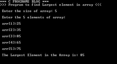 C Program Largest Element Array