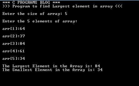 C Program Largest Smallest in Array