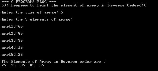 C Program Print Reverse Array