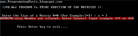 VB.Net Matrix Addition 2