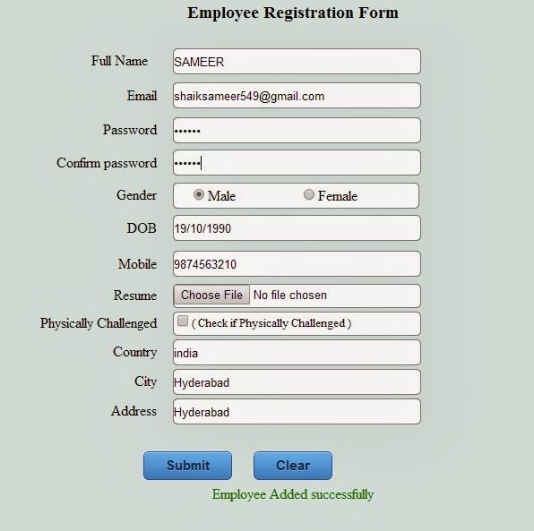 Asp.Net Employee Registration Form