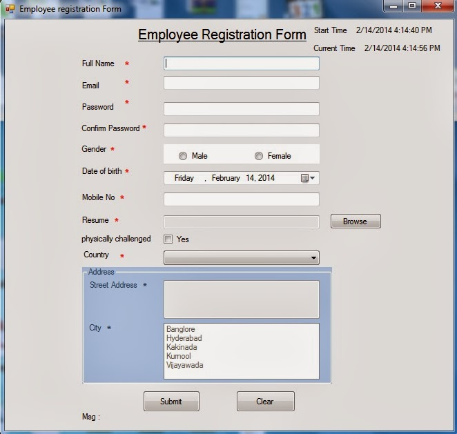 Registration Form In AspNet  CNet Winforms Using Tier