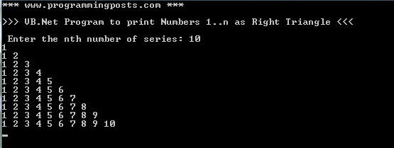 VB.Net Program to print Numbers 1 to N in Right Triangle Format