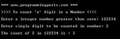 C# Program to count particular digit in a given number