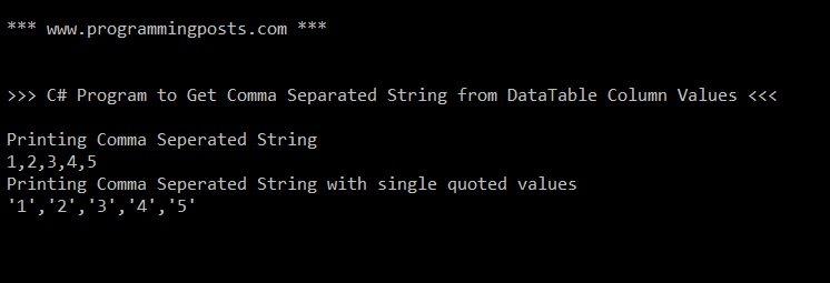 Get Comma (delimiter) Separated String from DataTable Column Values in C#.Net