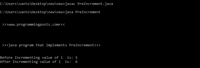 Java program for increment and decrement (pre and post)